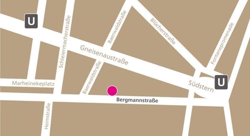 Umgebungskarte Bergmannstraße, Bergmannkiez, Südstern // Link zum Google Maps Routenplaner