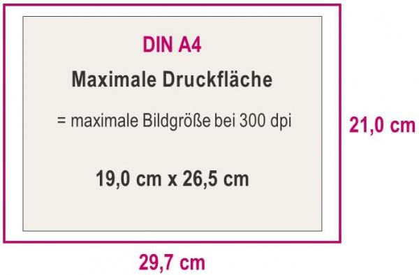 Maximale Druckfläche DIN A4
